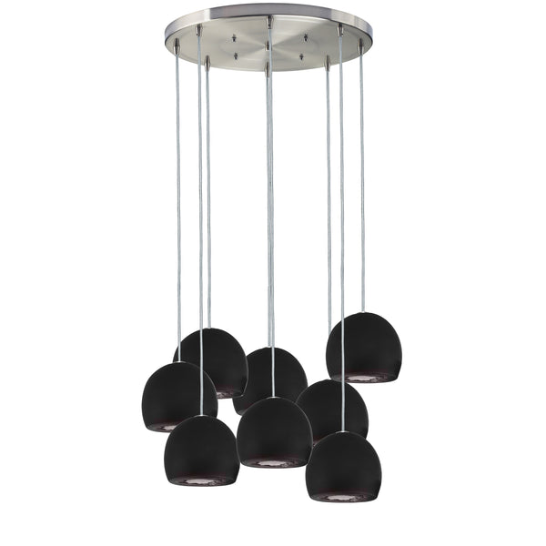 "Mini 5"" Matte Black Geode Quartz Crystal Multiple Staggered Pendant Chandelier- Made in USA"
