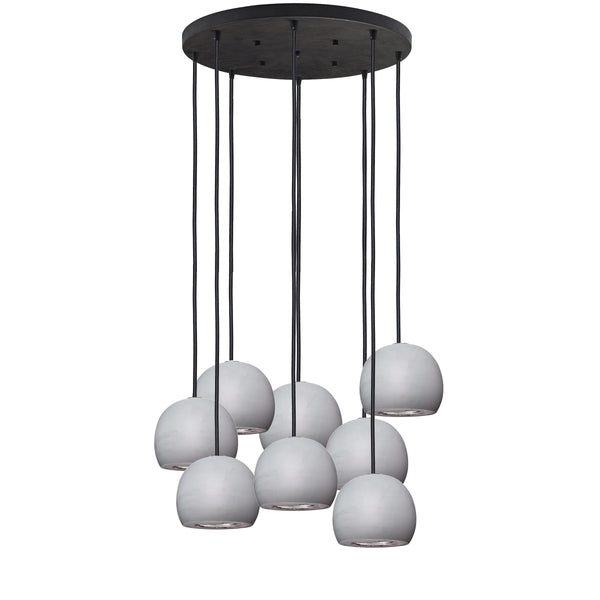 Geode Quartz Crystal Grey Porcelain & Silver Multiple Staggered Pendant Light Chandelier- Made in USA