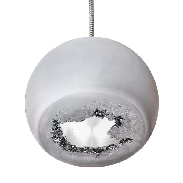 Geode Quartz Crystal Matte Grey and Silver Porcelain Pendant Light- USA Made. Custom- Hammers and Heels Denver,CO