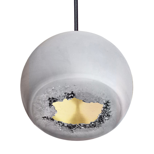 Geode Quartz Crystal Matte Grey and Brass Porcelain Pendant Light- USA Made. Custom- Hammers and Heels Denver,CO