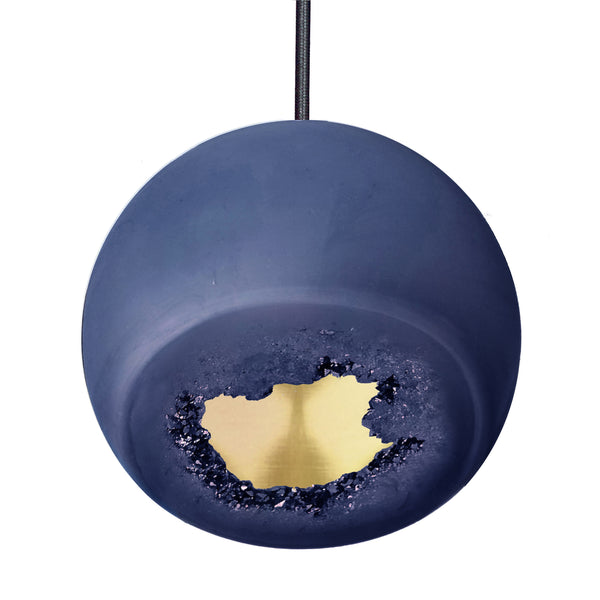 Geode Quartz Crystal Matte Indigo and Brass Porcelain Pendant Light- USA Made. Custom- Hammers and Heels Denver,CO