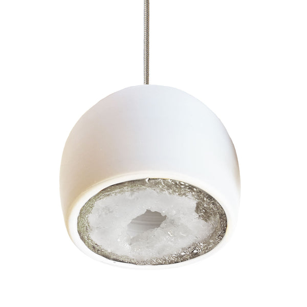 LED Geode Leafed Gem & Porcelain Mini Matte White Clay Pendant Light - Hammers and Heels  - 9