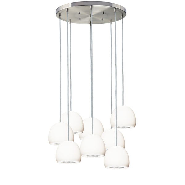 Geode Quartz Crystal White Porcelain & Silver Multiple Staggered Pendant Light Chandelier- Made in USA