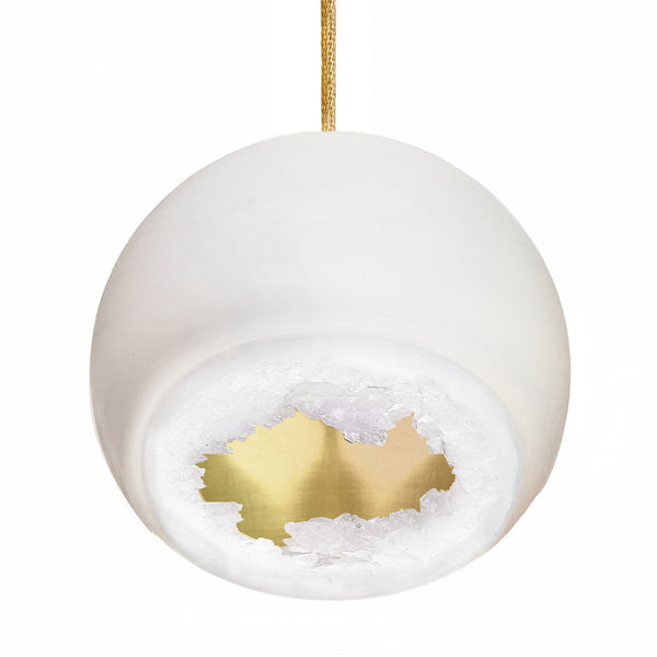 Geode Quartz Crystal Matte White and Brass Porcelain Pendant Light- USA Made. Custom- Hammers and Heels Denver,CO