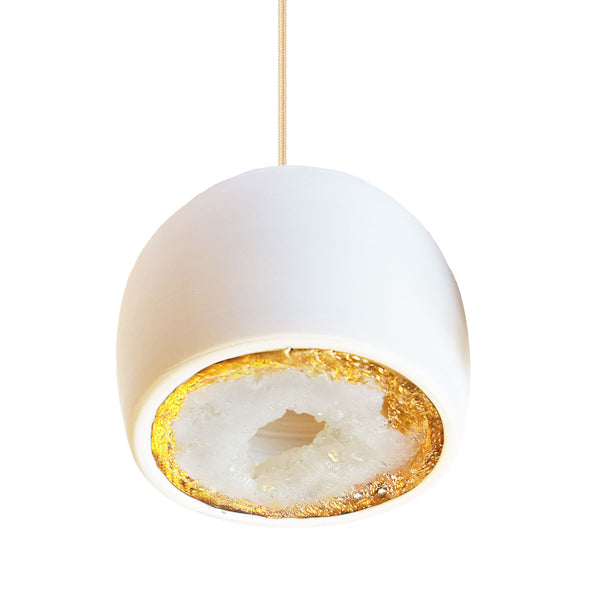 LED Geode Leafed Gem & Porcelain Mini Matte White Clay Pendant Light - Hammers and Heels  - 5