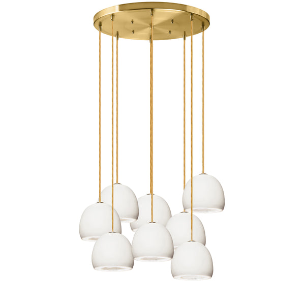 MINI Geode Quartz Crystal White Porcelain Multiple Staggered Pendant Light Chandelier- Made in USA
