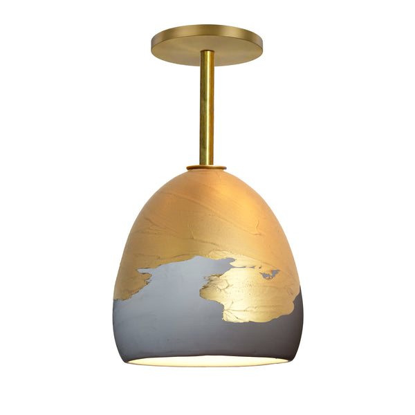 Matte Grey & Brass Metallic Ombre Porcelain Round Globe Downrod Pendant Light- USA Made by Hammers and Heels. Custom. Exclusive. Quality