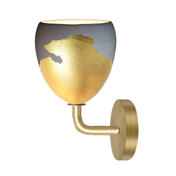 Matte Grey & Brass Metallic Ombre Porcelain Round Globe Sconce Light- USA Made by Hammers and Heels. Custom. Exclusive. Quality