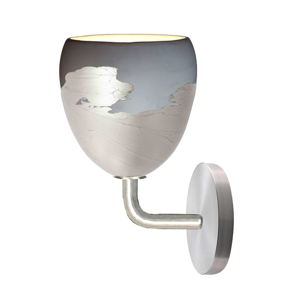 Matte Grey & Silver Metallic Ombre Porcelain Round Globe Sconce Light- USA Made by Hammers and Heels. Custom. Exclusive. Quality