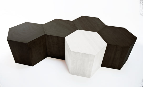 Hexagon Metallic Wood Modern Geometric Table- Black Washed- USA Made, Custom, Exclusive, Quality
