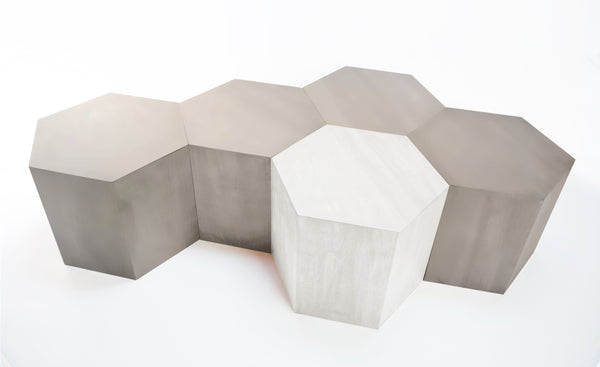 Hexagon Wood Modern Geometric Nickel Table- USA Made, Custom, Exclusive, Quality