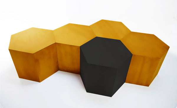 Hexagon Wood Modern Geometric Copper Metal Table- USA Made, Custom, Exclusive, Quality