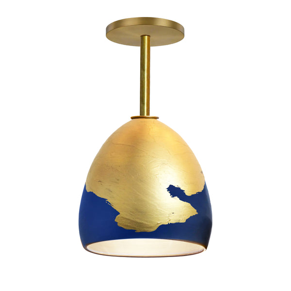Matte Indigo & Brass Metallic Ombre Porcelain Round Globe Downrod Pendant Light- USA Made by Hammers and Heels. Custom. Exclusive. Quality
