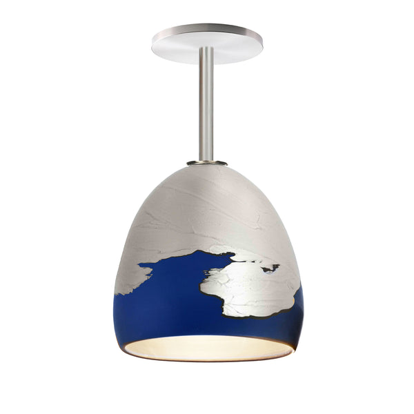 Matte Indigo & Silver Metallic Ombre Porcelain Round Globe Downrod Pendant Light- USA Made by Hammers and Heels. Custom. Exclusive. Quality