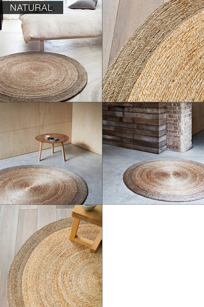 Modern Rustic Round Hand Woven Hemp Rug - Hammers and Heels  - 2