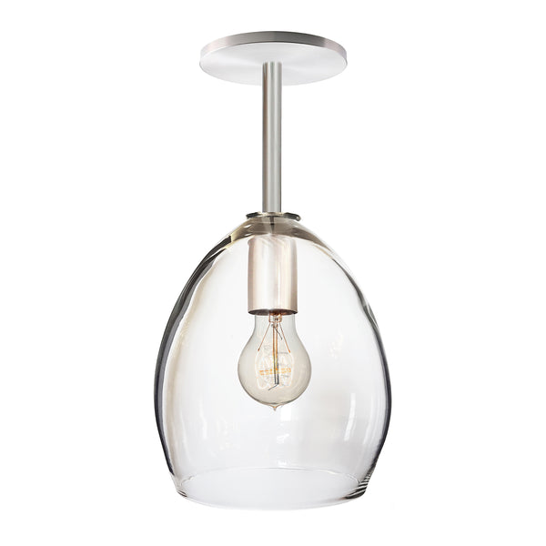 Clear Hand Blown Glass Orb Downrod Pendant Light- Hammers and Heels USA Made- Custom. Exclusive. Quality