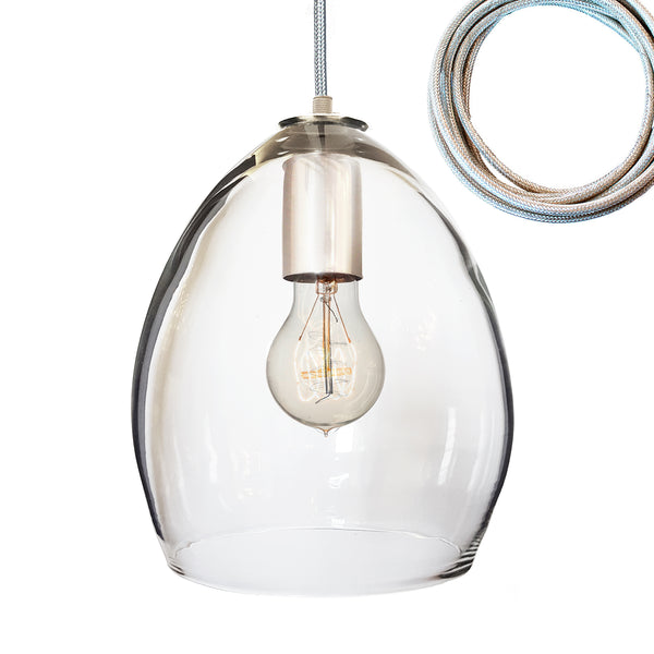 Clear Hand Blown Glass Orb Pendant Light- Hammers and Heels USA Made- Custom. Exclusive. Quality