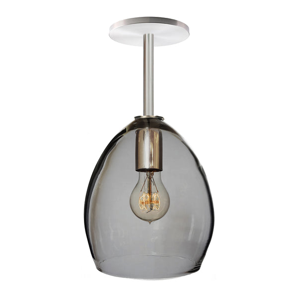 Smoke Hand Blown Glass Orb Downrod Pendant Light- Hammers and Heels USA Made- Custom. Exclusive. Quality