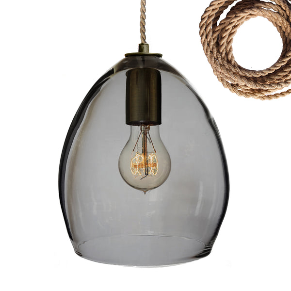 Smoke Hand Blown Glass Orb Pendant Light- Hammers and Heels USA Made- Custom. Exclusive. Quality
