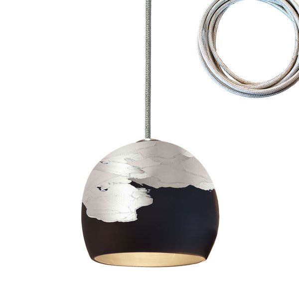 "5"" Matte Black & Silver Ombre Porcelain Pendant Light Made in USA"