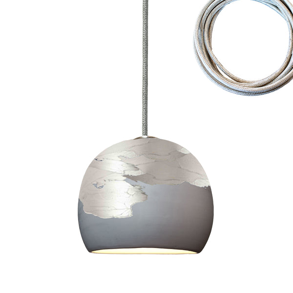 "Mini 5"" Matte Grey & Silver Ombre Porcelain Pendant Light USA Made"