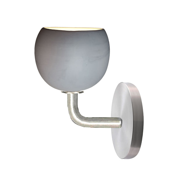 "5"" Matte Grey Porcelain Globe Sconce - Nickel - Made in USA"