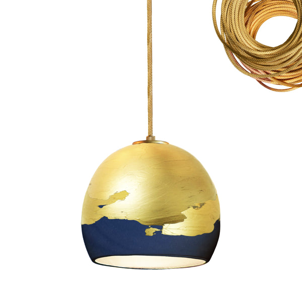 "Mini 5"" Matte Indigo & Brass Ombre Globe Porcelain Pendant Light USA Made"