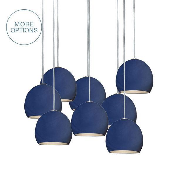 "5"" Matte Indigo Mini Porcelain Globe Staggered Pendant Light Chandelier - Made in USA"