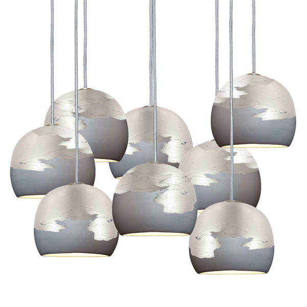 "Mini 5"" Matte Grey & Silver Ombre Porcelain Multiple Stagger Pendant Chandelier USA Made"