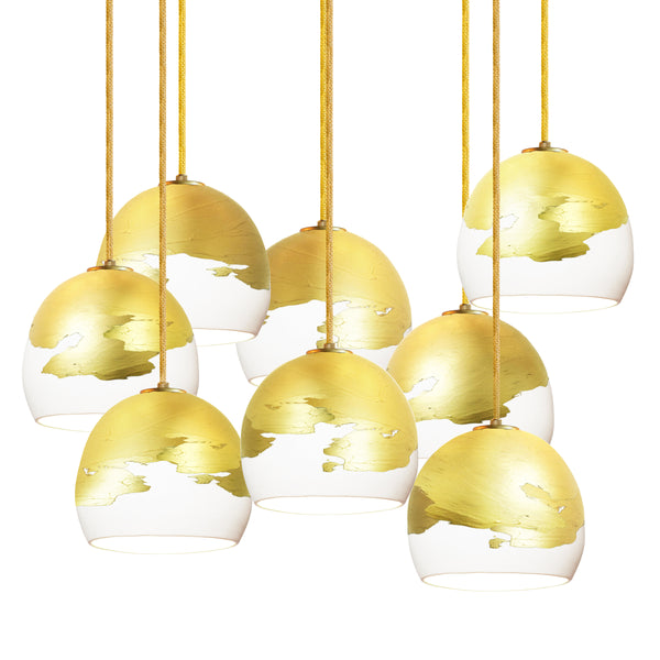 "Mini 5"" Matte White & Brass Ombre Porcelain Multiple Stagger Pendant Chandelier - Made in USA"