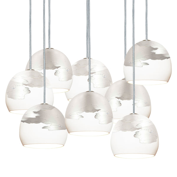 "Mini 5"" Matte White & Silver Ombre Porcelain Multiple Stagger Pendant Chandelier USA Made"