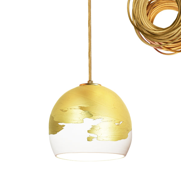 "Mini 5"" Matte White & Brass Ombre Globe Porcelain Pendant Light USA Made"