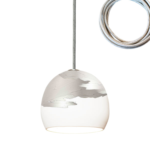 "Mini 5"" Matte White & Silver Ombre Porcelain Pendant Light Made in USA"