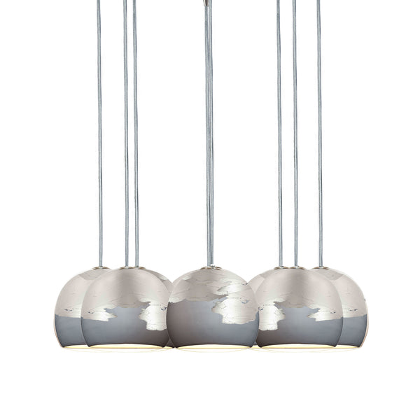 "Mini 5"" Matte Grey & Silver Ombre Porcelain Multiple Pendant Chandelier - made in USA"