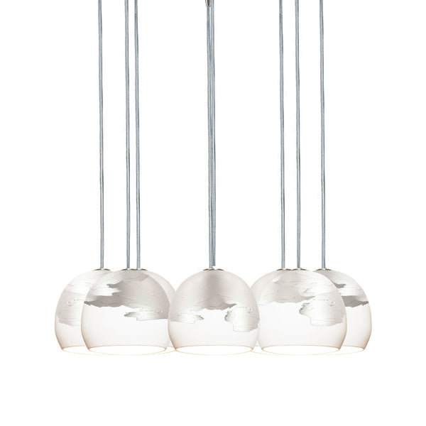 "Mini 5"" Matte White & Silver Ombre Porcelain Multiple Pendant Chandelier - Made in USA"