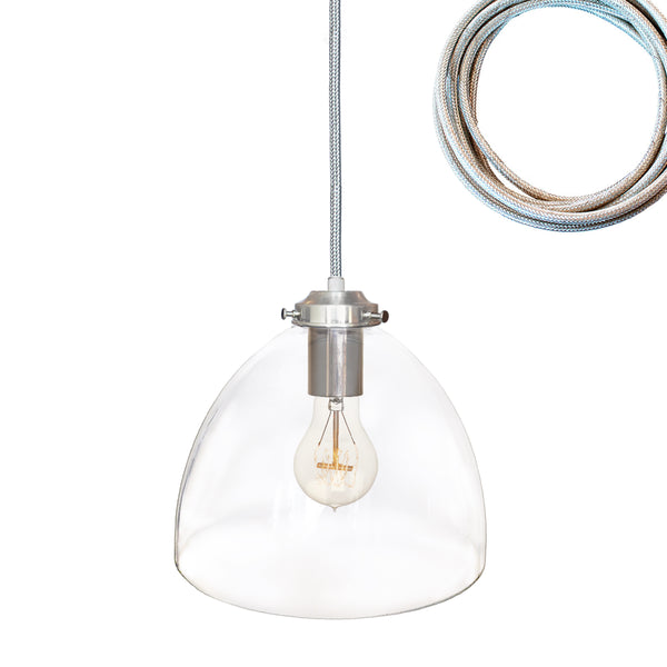 Clear Blown Glass Bell Pendant Light- Brushed Nickel. Made in USA. Custom, exclusive, quality by Hammers and Heels.