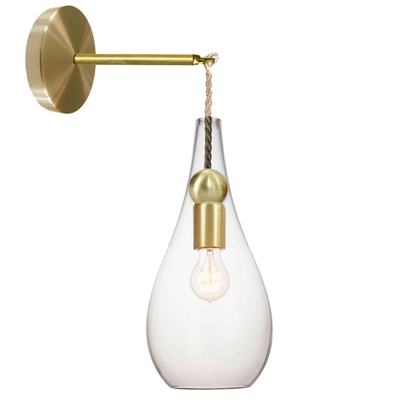 Mini Clear Blown Glass Ship Rope & Brass Teardrop Wall Sconce