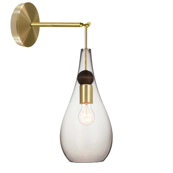 Mini Clear Blown Glass & Wood Teardrop Wall Sconce- Brass Cord