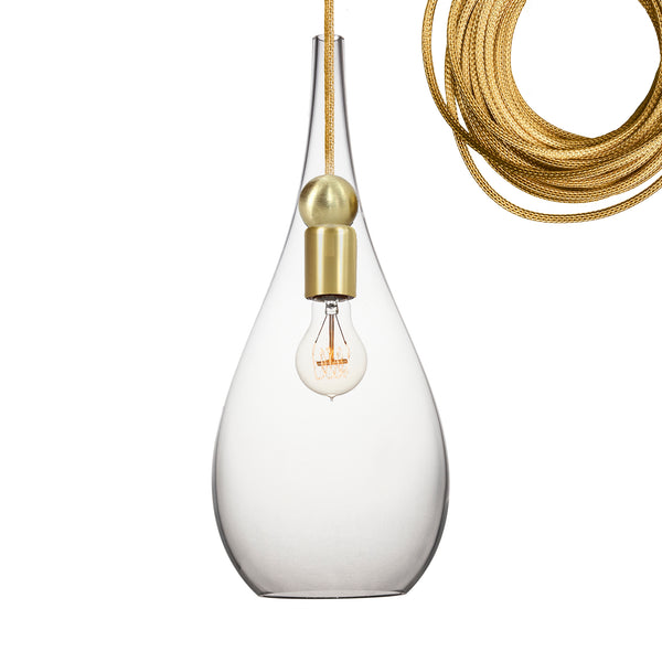 Clear Blown Glass & Brass Teardrop Pendant Light- MADE IN USA