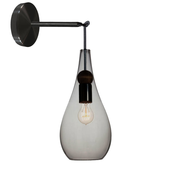 Mini Smoke Blown Glass & Wood Teardrop Wall Sconce- Matte Black