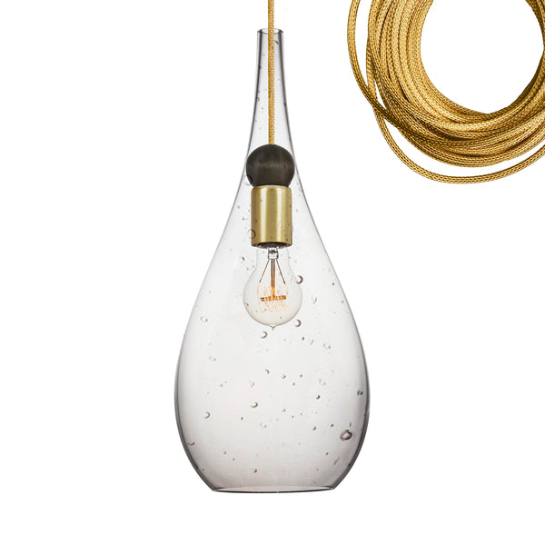 Seeded Blown Glass & Wood Teardrop Pendant Light- Brass Cord- Made in USA