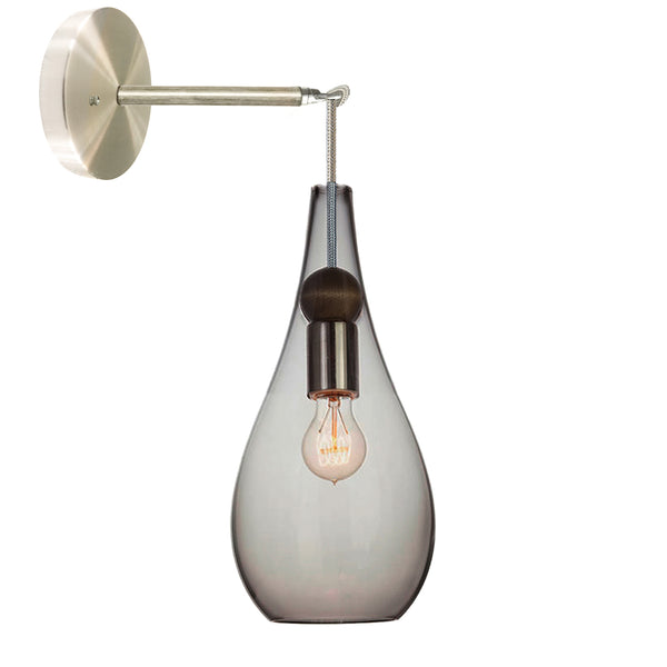 Mini Smoke Blown Glass & Wood Teardrop Wall Sconce- Brushed Nickel