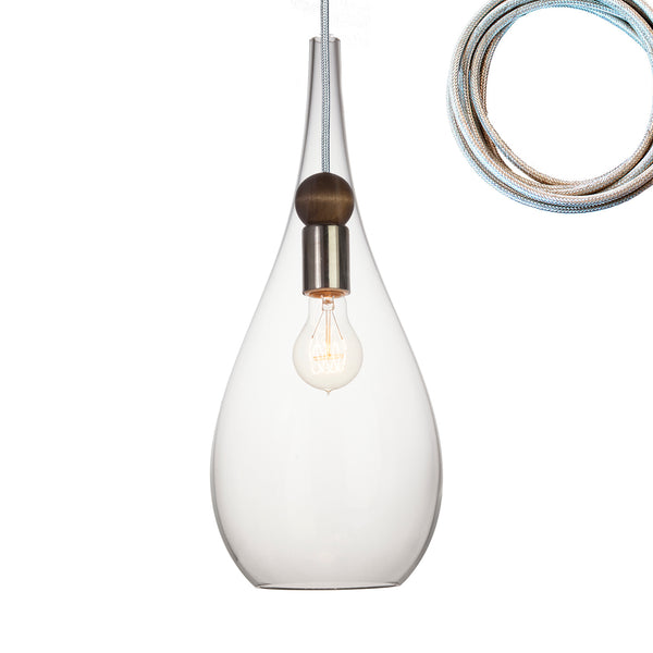 Clear Blown Glass & Wood Teardrop Pendant Light- Made in the USA