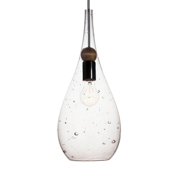 Seeded Blown Glass & Wood Drop Pendant Light- Made in the USA