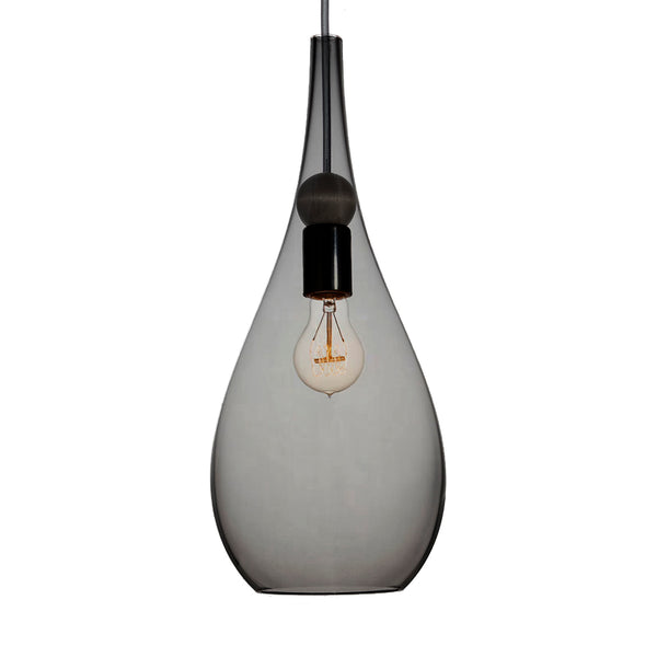 Smoke Grey Blown Glass & Wood Teardrop Pendant Light- Made in the USA