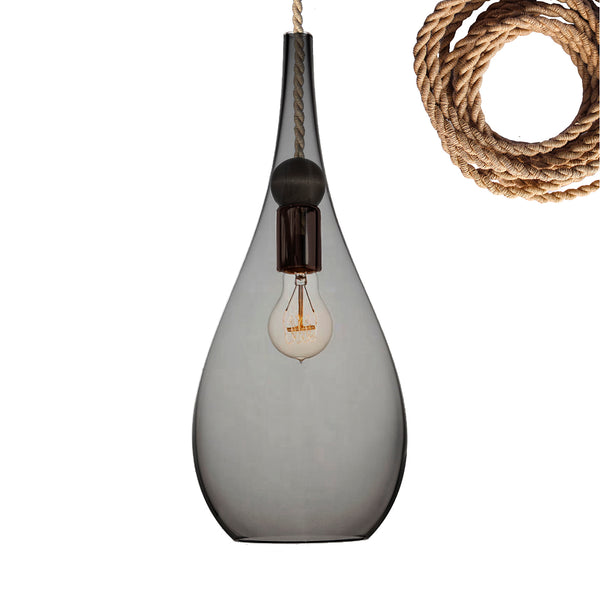 Blown Glass & Wood Teardrop Pendant Light- Made in the USA