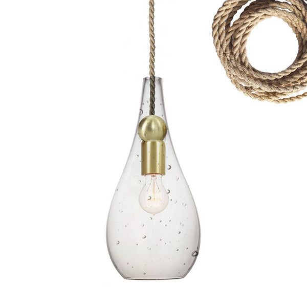 Mini Seeded Blown Glass Ship Rope & Brass Teardrop Pendant Light- Made in USA