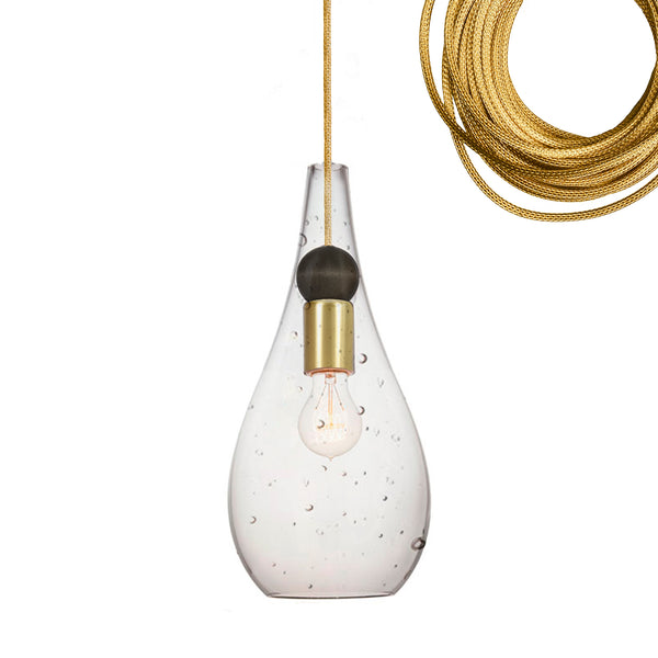 Mini Seeded Blown Glass & Wood Teardrop Pendant Light- Brass Cord- Made in USA