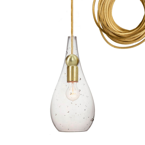 Mini Seeded Blown Glass & Brass Teardrop Pendant Light- Made in USA