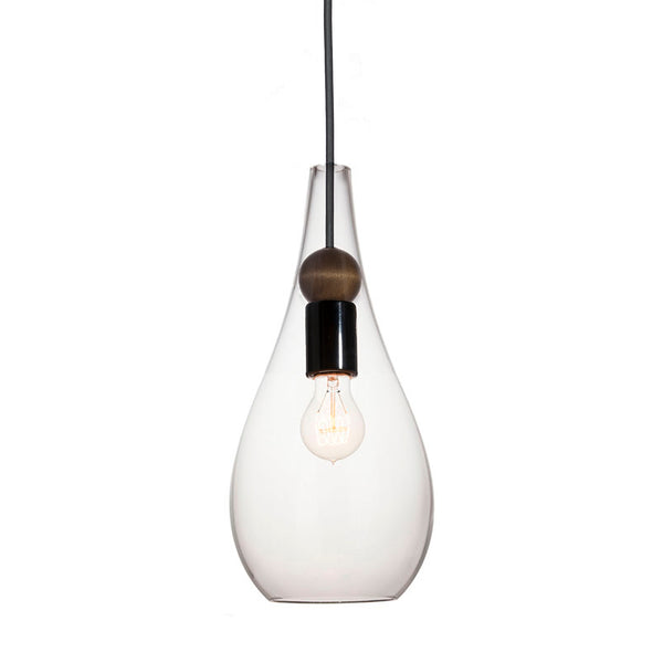 Mini Clear Blown Glass & Wood Drop Pendant Light- Made in the USA
